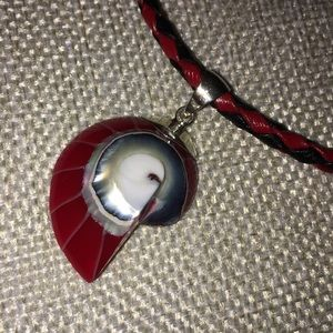 Red Nautilus pendant necklace